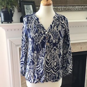 Lilly Pulitzer Blue and White Silk Shirt